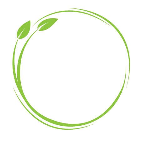 green round plant and leaves icon, eco friendly symbol with copy space in center vector illustration  イラスト・ベクター素材