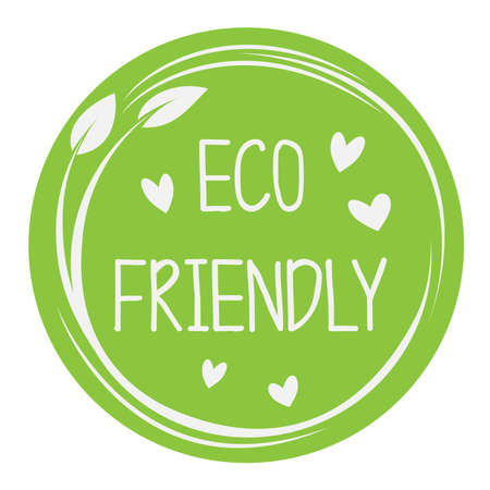 circular green eco friendly sticker or label with leaves and heart icons vector illustration  イラスト・ベクター素材