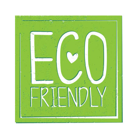 square green grungy eco friendly sticker or label with heart shape vector illustration  イラスト・ベクター素材