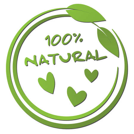 round green 100 percent natural label with leaf and heart shape vector illustration