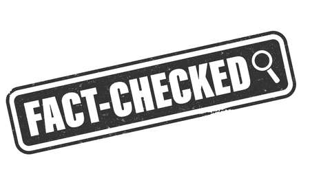 grungy FACT-CHECKED label or rubber stamp with magnifying glass icon vector illustration