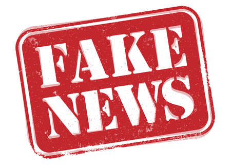red grungy FAKE NEWS label or stamp isolated on white background vector illustration  イラスト・ベクター素材
