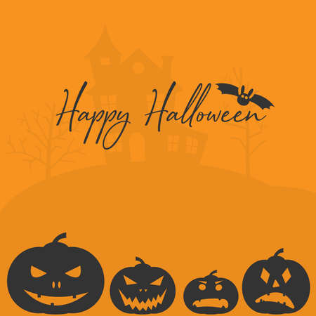 Happy Halloween greeting card or social media template with jack-o-lantern and bat vector illustration