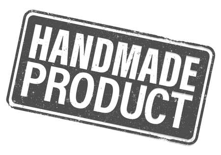 grungy HANDMADE PRODUCT rubber stamp or label isolated on white vector illustration