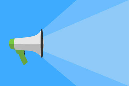 megaphone against blue background, announcement template with copy space vector illustration