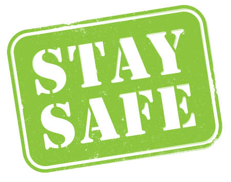 grungy STAY SAFE stamp or sign isolated on white vector illustration  イラスト・ベクター素材