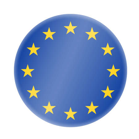 round blue and golden european union symbol or badge vector illustration