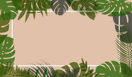 natural horizontal vector background with tropical leaves in pastel colors, design template Ilustrace