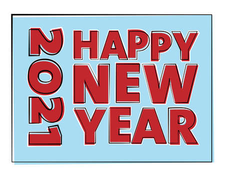 HAPPY NEW YEAR 2021 greeting card or sticker vector illustration 일러스트