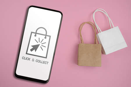click and collect concept, buy online and collect in local store