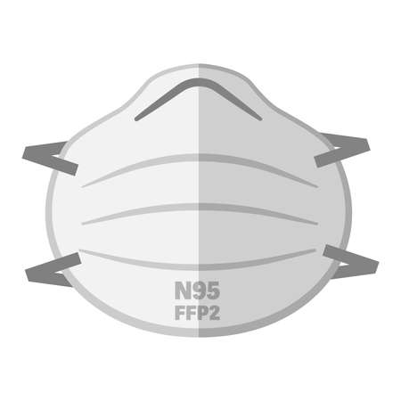 simple FFP2 N95 face mask respirator vector illustration