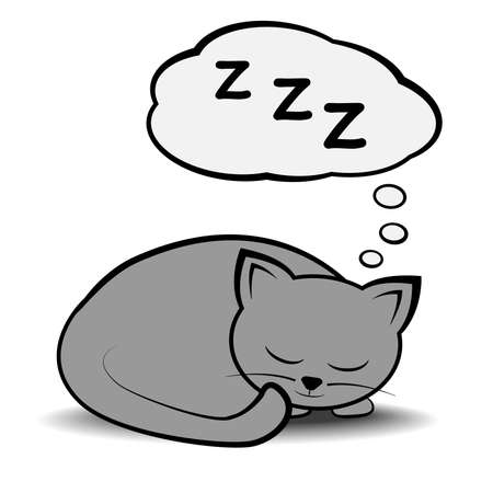 cute sleeping curled up cat with speech bubble vector illustration