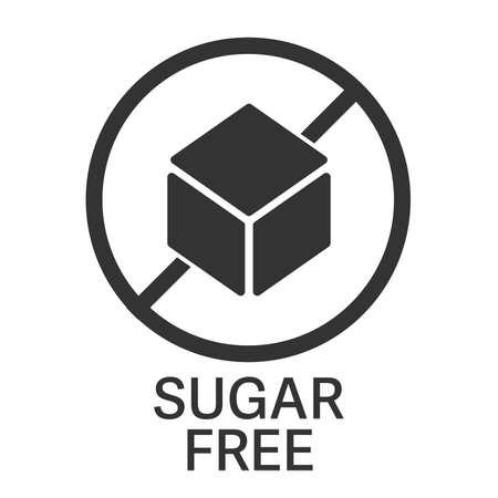 sugar free symbol or label with sugar cube vector illustration