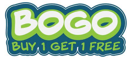 BOGO BUY ONE GET ONE FREE sticker or label vector illustration 向量圖像