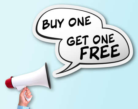 shouting BUY ONE GET ONE FREE using bullhorn, BOGO discount concept