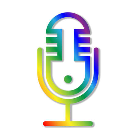 rainbow colored recording microphone icon or symbol, podcast logo vector illustration 矢量图像