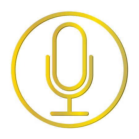 gold colored podcast recording microphone in circle vector illustration 矢量图像