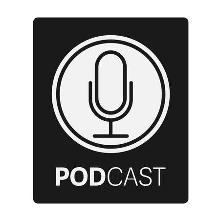 podcast logo or icon with recording microphone vector illustration