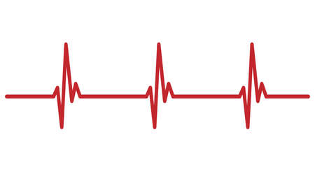 red cardiogram heartbeat line isolated on white vector illustration