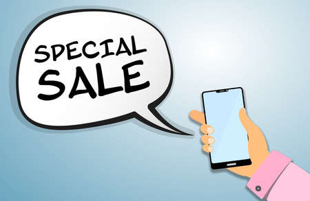 hand holding smartphone with SPECIAL SALE announcement message vector illustration
