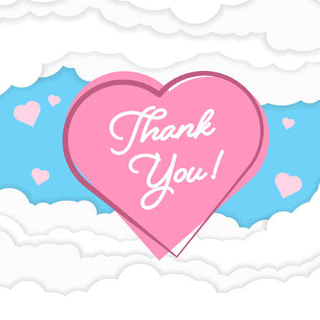THANK YOU on pink heart against fluffy papercut clouds vector illustration