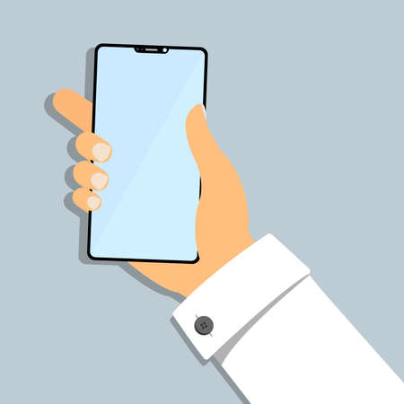 hand of business person holding smartphone flat vector illustration 矢量图像