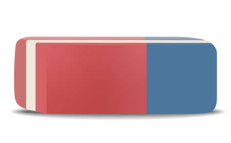 red and blue rubber eraser isolated on white vector illustration