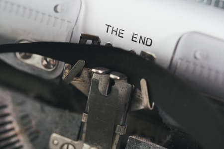 close-up view of words THE END written on vintage typewriter