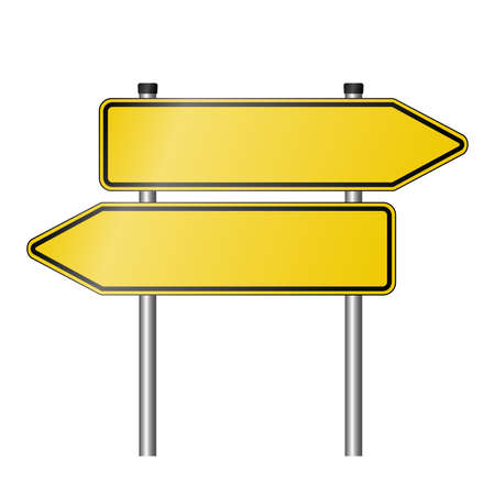 yellow signpost road sign as used in Germany pointing in both directions with copy space for text, realistic vector illustration
