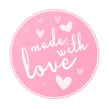 round pink MADE WITH LOVE label or sticker with hearts vector illustration
