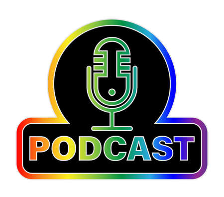 rainbow colored podcast with recording microphone symbol, vector illustration isolated on white background 矢量图像