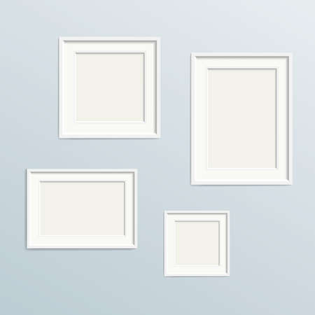 set of empty picture frames on wall, template with copy space vector illustration 矢量图像