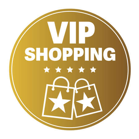 round golden VIP SHOPPING sticker or sign, exclusive private shopping vector illustration