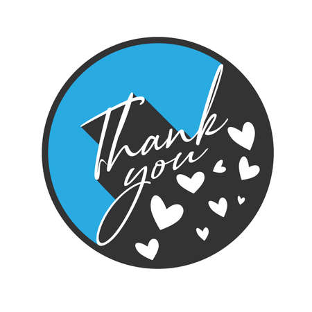 round THANK YOU sticker or label with hearts isolated on white background, vector illustration