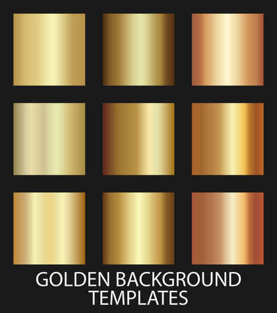 set of gold colored gradient background templates, vector illustration