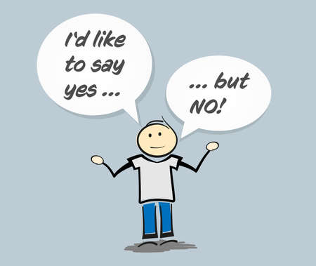 stickman character with text I WOULD LIKE TO SAY YES ... BUT NO in speech bubbles vector illustration 矢量图像