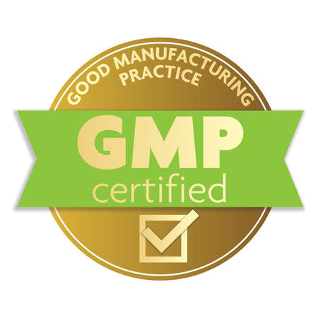 Gold colored GOOD MANUFACTURING PRACTICE GMP certifier label or badge illustration
