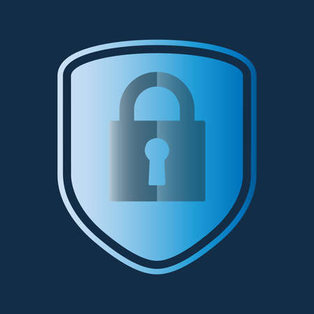 security shield with padlock symbol, cybersecurity vector illustration 矢量图像