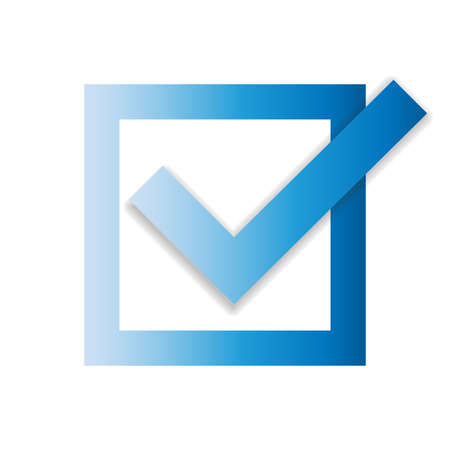 Blue checkbox with checkmark isolated on white