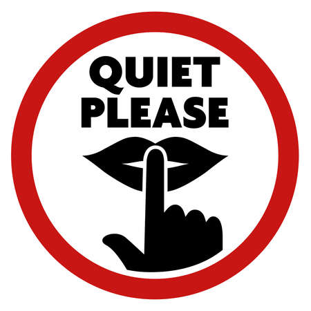 round QUIET PLEASE sign with finger on lips symbol vector illustration