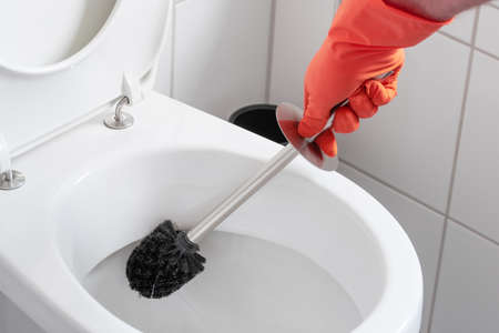 person wearing rubber gloves cleaning toilet bowl with toilet brush 免版税图像