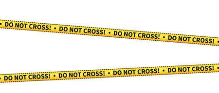 yellow DO NOT CROSS barrier tape isolated on white vector illustration Illustration