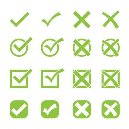 check mark or tick symbol icon set vector illustration