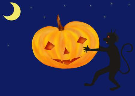 imp: Halloween Pumpkin and Imp