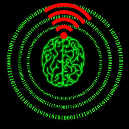 Human brain and internet technology Standard-Bild - 115911538