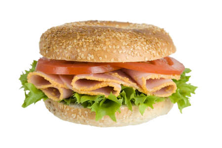 Ham bagel with lettuce and tomato Stock Photo - 2641579