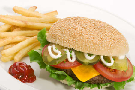 beefburger: Close up image of a hamburger and french fries