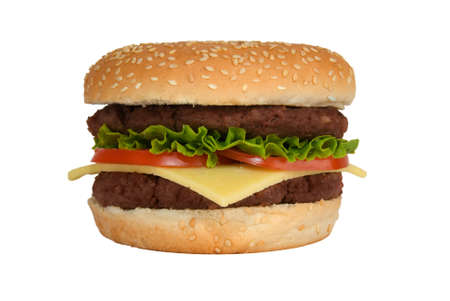 cheeseburgers: A double cheeseburger with lettuce and tomato isolated on a white background
