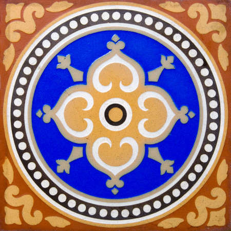 encaustic: An antique flooring tile in the Arts & Crafts style dating around 1880