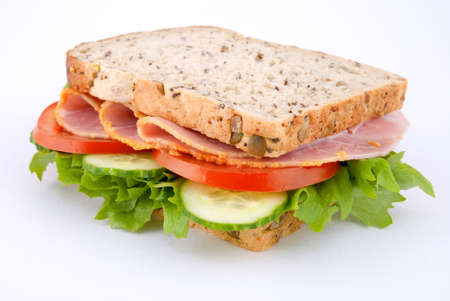sandwish: Ham sandwish with salad, corner on view Stock Photo